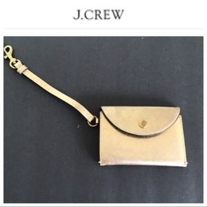 J CREW MINI GOLD LEATHER CARD CASE WITH STRAP